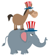 Smiling Donkey Democrat Over Angry Elephant Republican. Illustration Flat Design Style