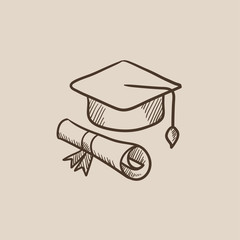 Graduation cap with paper scroll sketch icon.