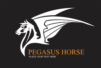 White pegasus horse, combine with text suitable for team identity, sport club logo or mascot, insignia, embellishment, emblem, illustration for apparel, equestrian club, motorcycle community, etc