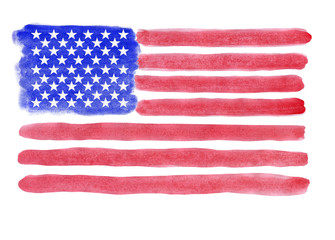Flag of USA painted watercolor