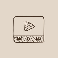 Video player sketch icon.