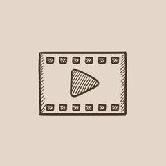 Film frame sketch icon.