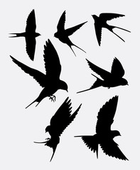Swallow bird animal silhouette. good use for symbol, logo, web icon, mascot, sticker design, mascot, or any design you want.