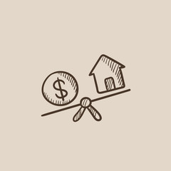 House and dollar symbol on scales sketch icon.