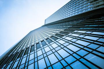 Tuinposter Aan het plafond modern facade. building skyscrapers. office buildings. modern gl