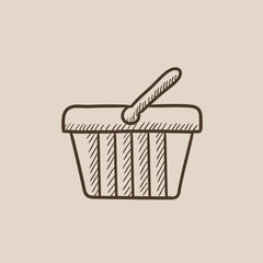 Shopping basket sketch icon.