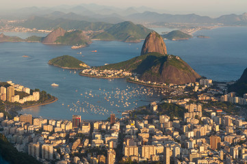 Rio de Janeiro Skyline with Sugarloaf Mountain at Sunset