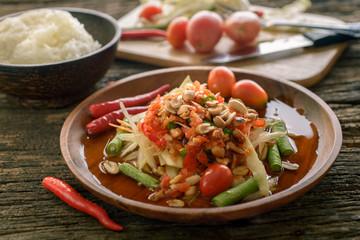 Famous Thai food, papaya salad ,somtum
