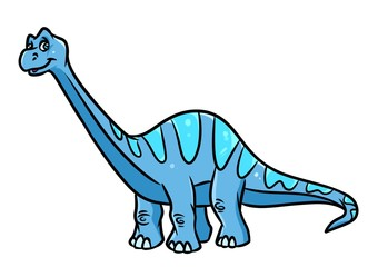 Dinosaur Diplodocus, herbivorous  cartoon illustration isolated image animal character