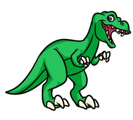 Dinosaur Tyrannosaurus Rex predator  cartoon illustration isolated image animal character