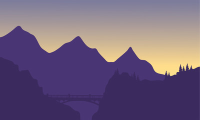 Silhouette of mountain and bridge
