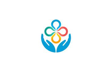 hand circle flower logo