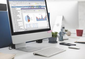 Fototapeta Spreadsheet Marketing Budget Report File Concept
