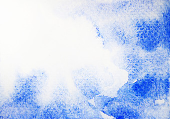 abstract watercolor painting blue sky, water splash background