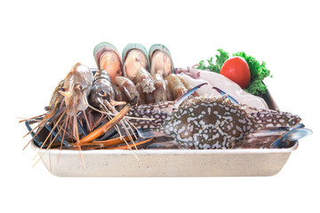 Fresh seafood top view on white background - healthy food, diet