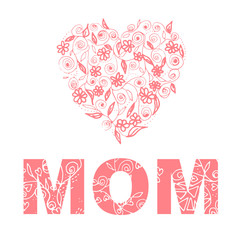 Love Mom Illustration design with flora theme in pink tone.