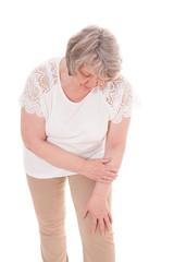 Seniorin klagt über Schmerzen im Knie
