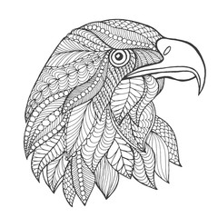 Eagle head. Adult antistress coloring page