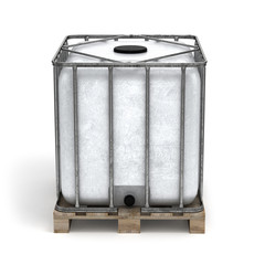 Plastic barrel on a pallet
