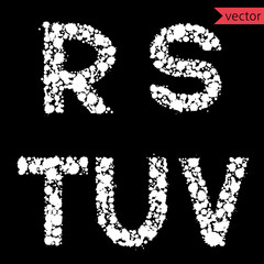 decorative letters R, S, T, U, V, made from  drops and blots