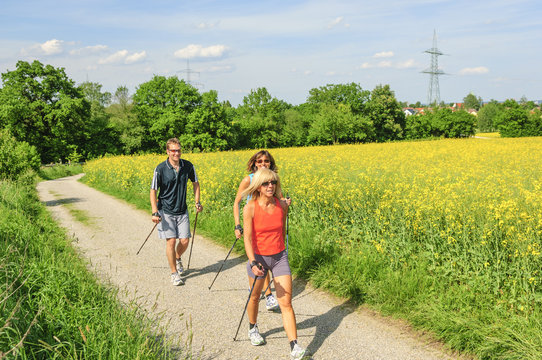 Nordic Walking Session in frühlingshafter Natur