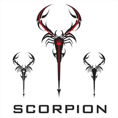scorpion. elegant stylized scorpion in black and white.
