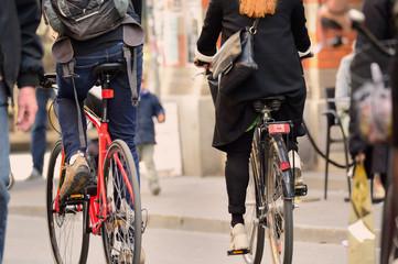 Fototapete - Swedish bikes in traffic