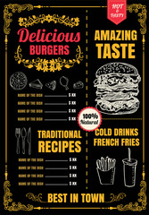 Restaurant Fast Foods menu burger vector format eps10