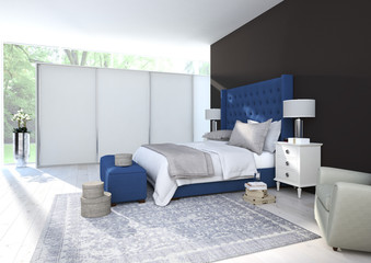 comfortable bedroom with nice decoration. 3d rendering