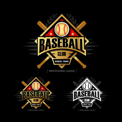 Golden Baseball sport badge logo design template and some elements for logos, badge, banner, emblem, label, insignia, T-shirt screen and printing. Baseball logotype template.