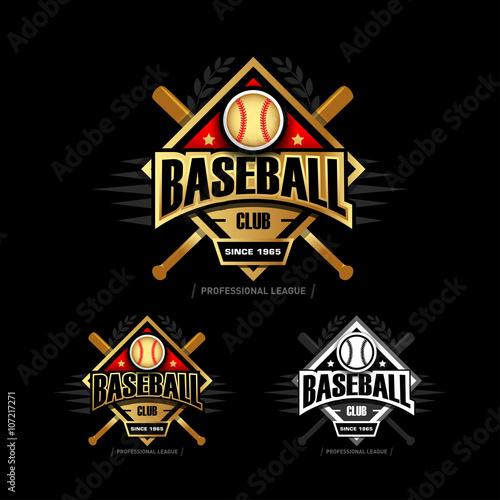 Golden Baseball Sport Badge Logo Design Template And Some Elements For Logos Banner