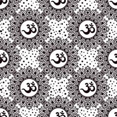 Om symbol seamless pattern. Vintage elements of black on a white background. Buddhist, Indian motifs yoga, meditation, spirituality.