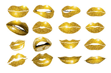 Set of 16 glamour lips, with gold lipstick colors. Vector illustration. element.
