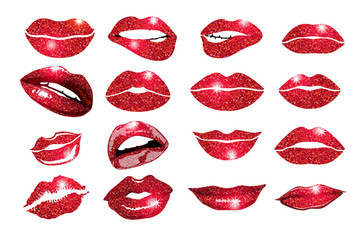 collage, lips Lips red set. Design glitter element.