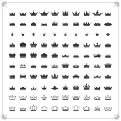 100 Crown icons set,Vector EPS10.