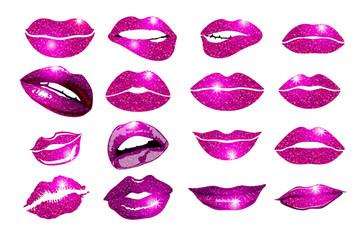 collage, pink lips set. Design glitter element.