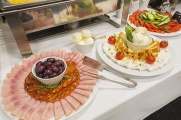 Breakfast buffet at hotel restaurant