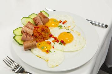 Eggs for breakfast at hotel restaurant