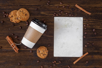 Grunge letter with coffee on the wooden table