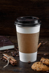 Coffee cup paper on the wooden table