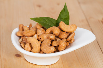 fresh cashew nuts in a bowl