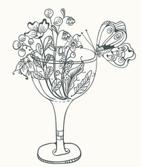 Monochrome Floral illustration with glass, flowers and butterfly