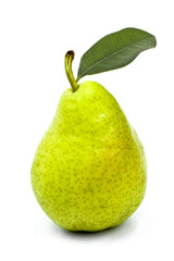 tasty ripe green pear with leaf isolated on white