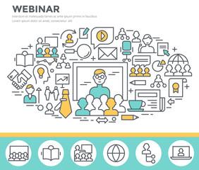 Webinar and online seminar concept illustration, thin line flat design