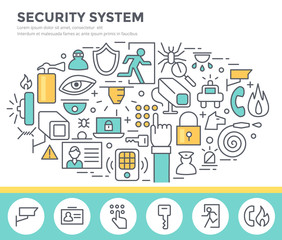 Security system concept illustration, thin line flat design