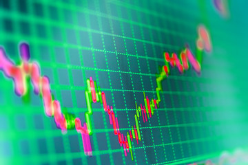 Finance concept. Stock trade live. Background stock chart. Candle stick graph chart of stock market investment trading. Stock market quotes on display. Analysing stock market data on a monitor