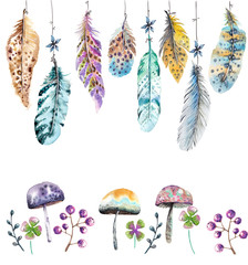 Hand drawn colorful watercolor feathers and mushrooms background