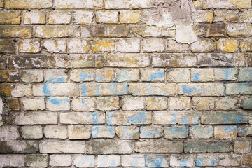 Old painted brick wall