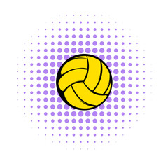 Yellow volleyball ball icon, comics style