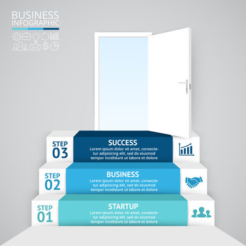Vector 3d arrows infographic. Template for diagram, graph, presentation and chart. Business startup concept with 3 options, parts, steps or processes. Abstract background. Data visualization.
